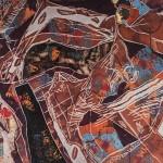 Ádám érintése/ Adam's touch, 2005  akril, plexi, linóleum / acrylic, plastic foil on lino 60x120 cm