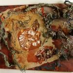 Elveszett Paradicsom / Lost Paradise, 2003 akril, akvarell, csirkedrót, rízspapír, rézlemez, fa / acrylic, watercolour, chicken wire, ricepaper, cooper sheet on wood 50x70 cm