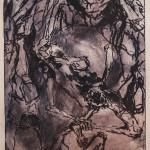 Föld alatt, ég alatt / Under the ground, under the sky, 2004 Szabó Lőrinc illusztráció / Poem-illustration for Lőrinc Szabó hidegtű, papír / drypoint on paper 42x21 cm