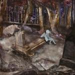Gyökerek és Szárnyak / Roots and wings, 2015 akril, akvarell, spray, fa / acrylic, watercolor, spray paint on wood 70x90 cm