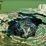 Imbolygó egység / Wobbling unity, 2012 olaj, akril, metál fólia, vászon/ oil, acrylic, metal foil on canvas 50x100 cm