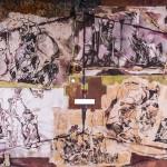 Invokáció / Invocation, 2003 akril, akvarell, rizspapír, műmoha, fa / acrylic, watercolor, ricepaper, artificial moss on wood 50x70 cm
