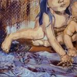 Ne hagyd, hogy megtörjenek! / Don't let the bastards grind you down!, 2014 akril, akvarell, spray, plexi, pausz papír, fa / acrylic, watercolor, spray paint, plastic foil, tracing paper on wood 80x80 cm