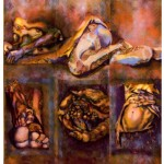 Női (Én)ek 2/ Song of the Female soul 2, 2008  akril, spray, metál fólia, faparaván / acrylic, spray paint, metal foil on wood foldiing screen 170x150 cm