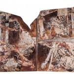 Szegett szárnyon / Broken wings, 2003 akril, csirkedrót, rizspapír, fém, fa / acrylic, chicken wire, ricepaper, metal on wood 70x100 cm